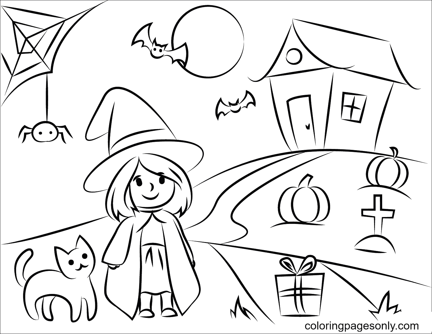 Little Witch, Black Cat and Haunted House Coloring Page