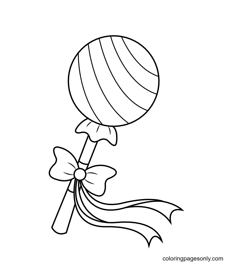 Lollipop With Bow Coloring Page