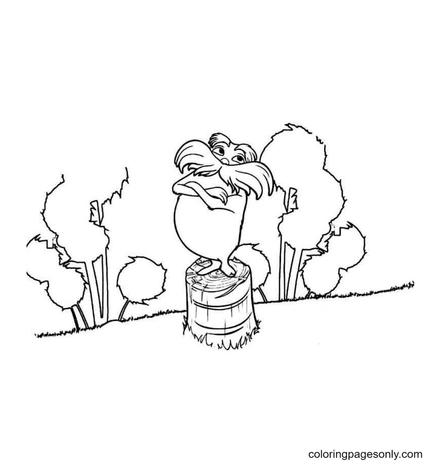 Lorax Standing on The Tree Trunk Coloring Page