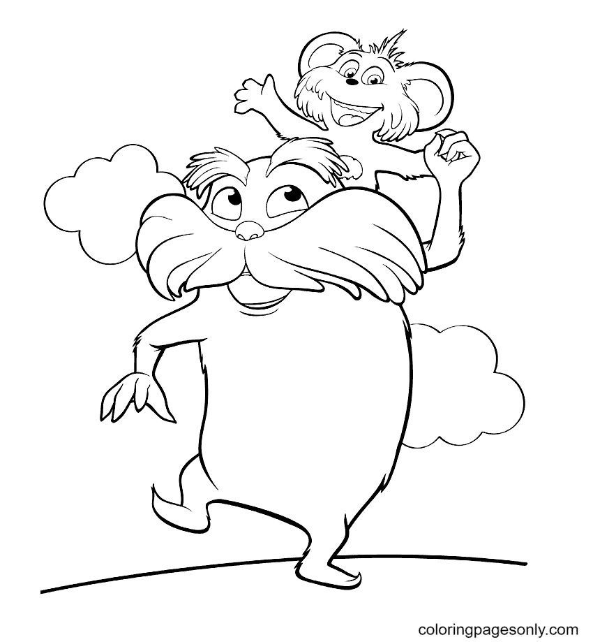 Lorax – The Caretaker of the Truffula Trees Forest Coloring Page