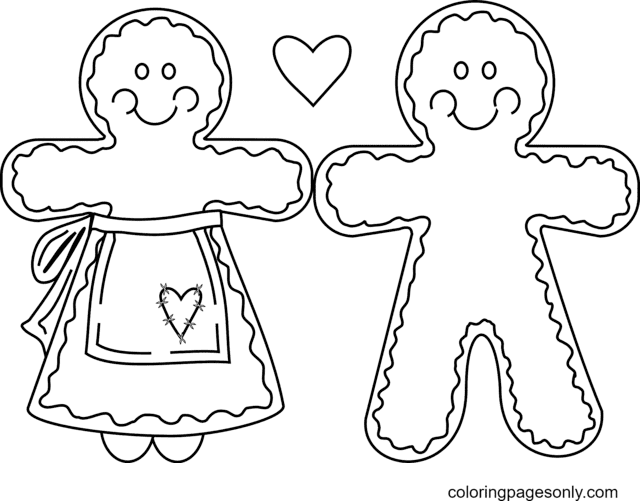 Love Gingerbread Man Coloring Page