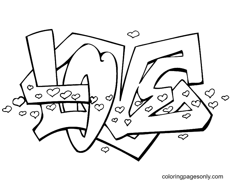 Love Graffit Free Coloring Page