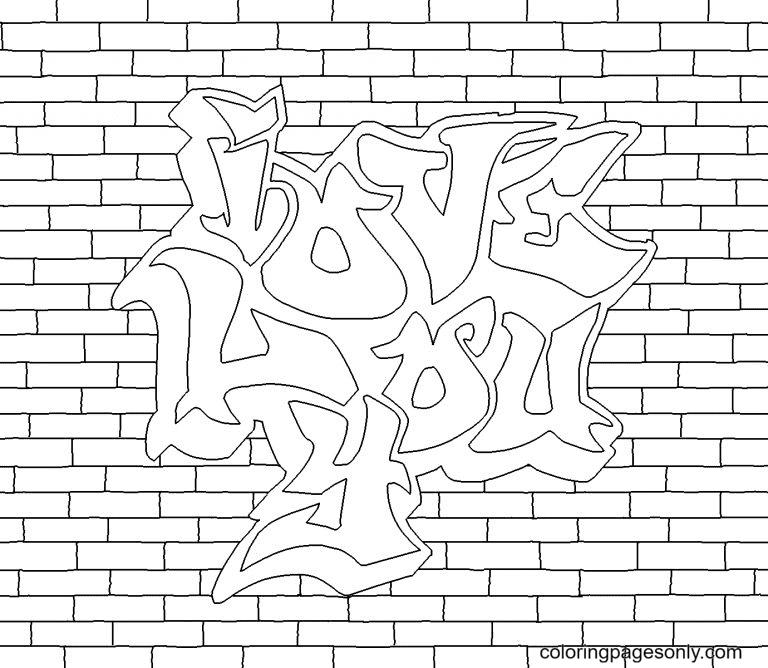 Love You Graffiti Coloring Page
