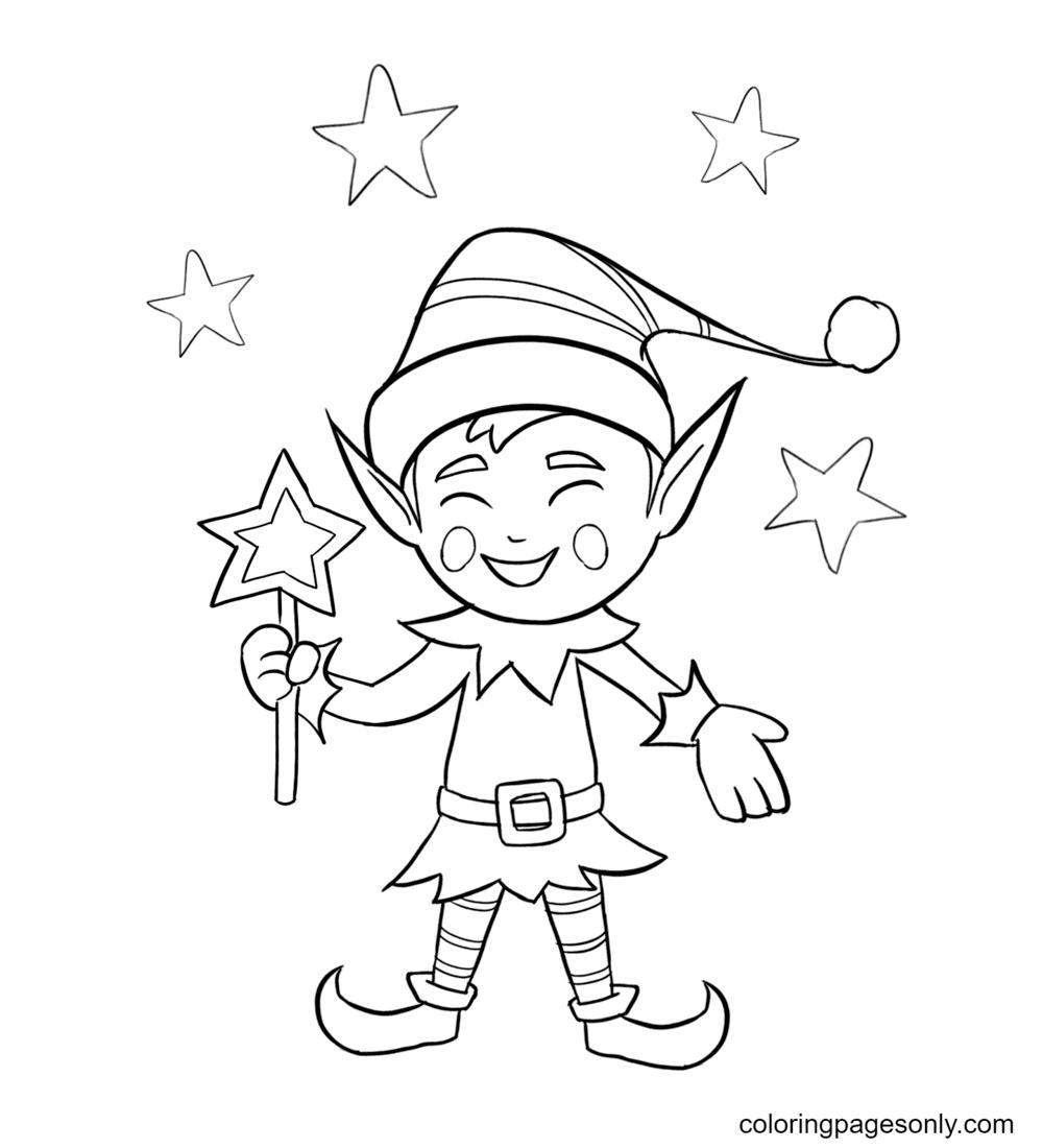 Magic Elf Coloring Page