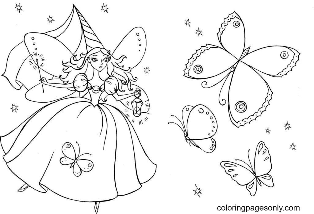 Magic Fairy and Butterflies Coloring Page