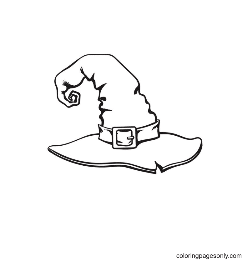 Magic Witch Hat Coloring Page