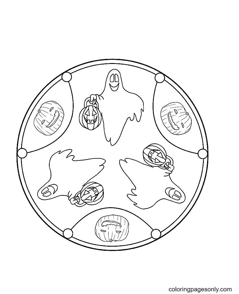 Mandala Ghost Coloring Page