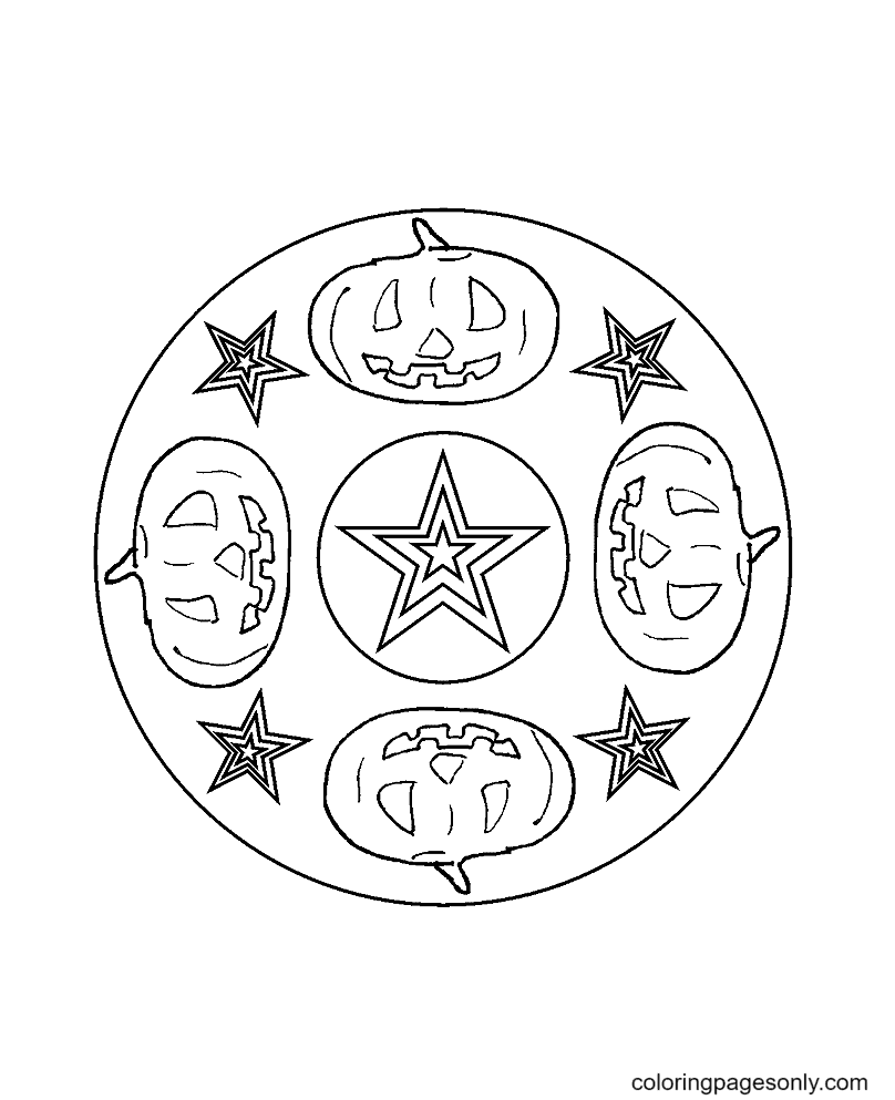 Mandala Halloween Picture with Four Pumpkins Coloring Page