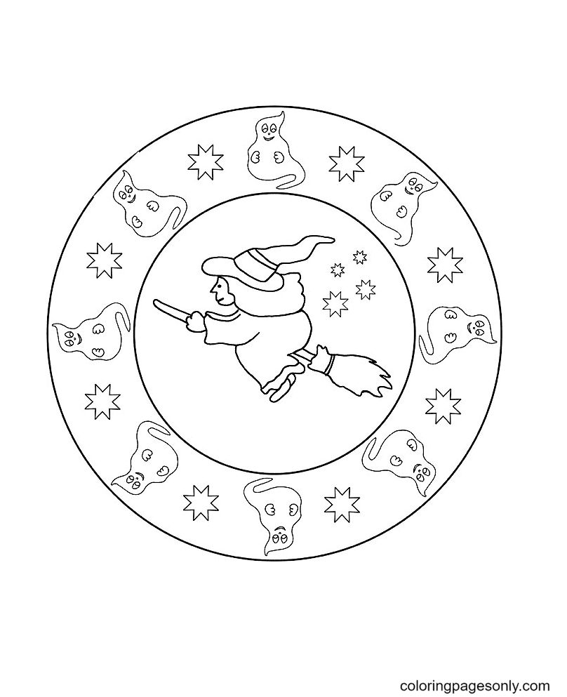 Mandala Witch and Ghosts for Halloween Coloring Page