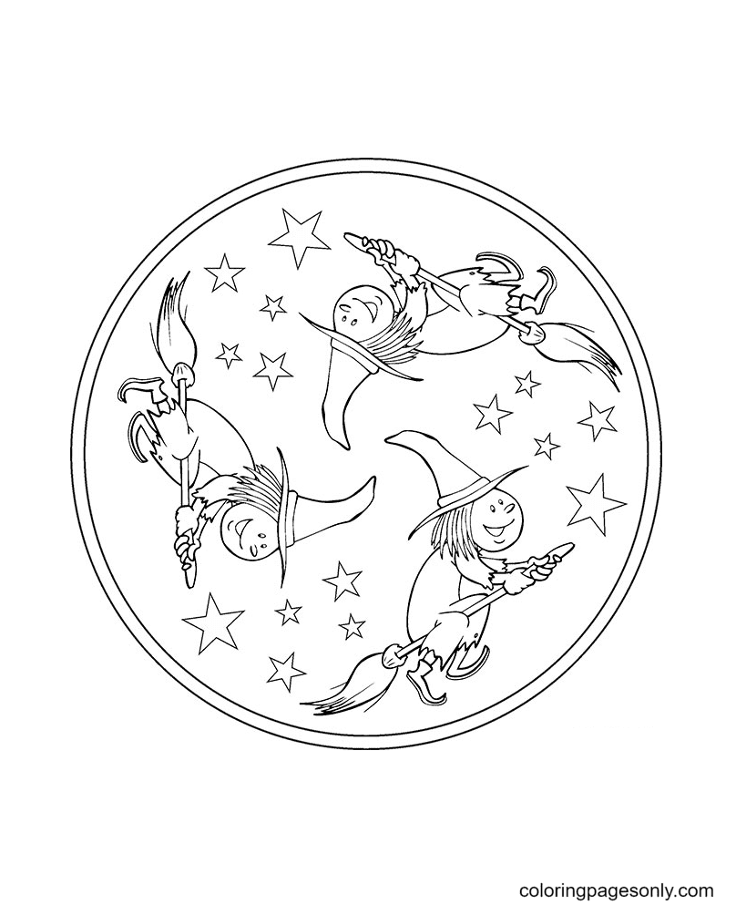 Mandala Witch flies on a Broomstick Coloring Page