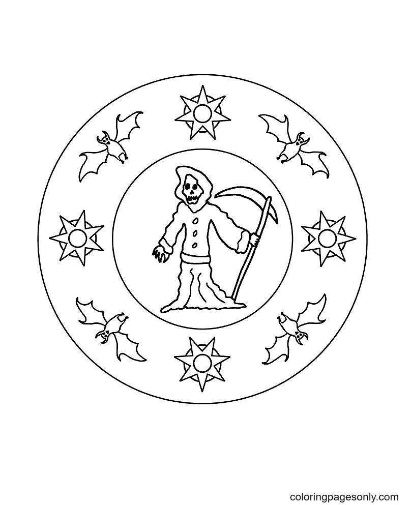 Mandala with Grim Reaper and Bat Coloring Page