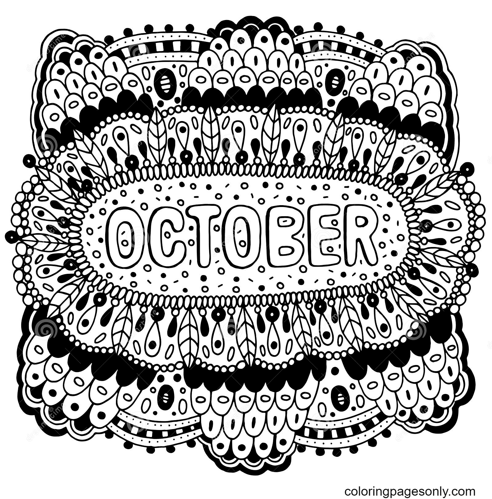 Mandala with October months Coloring Page