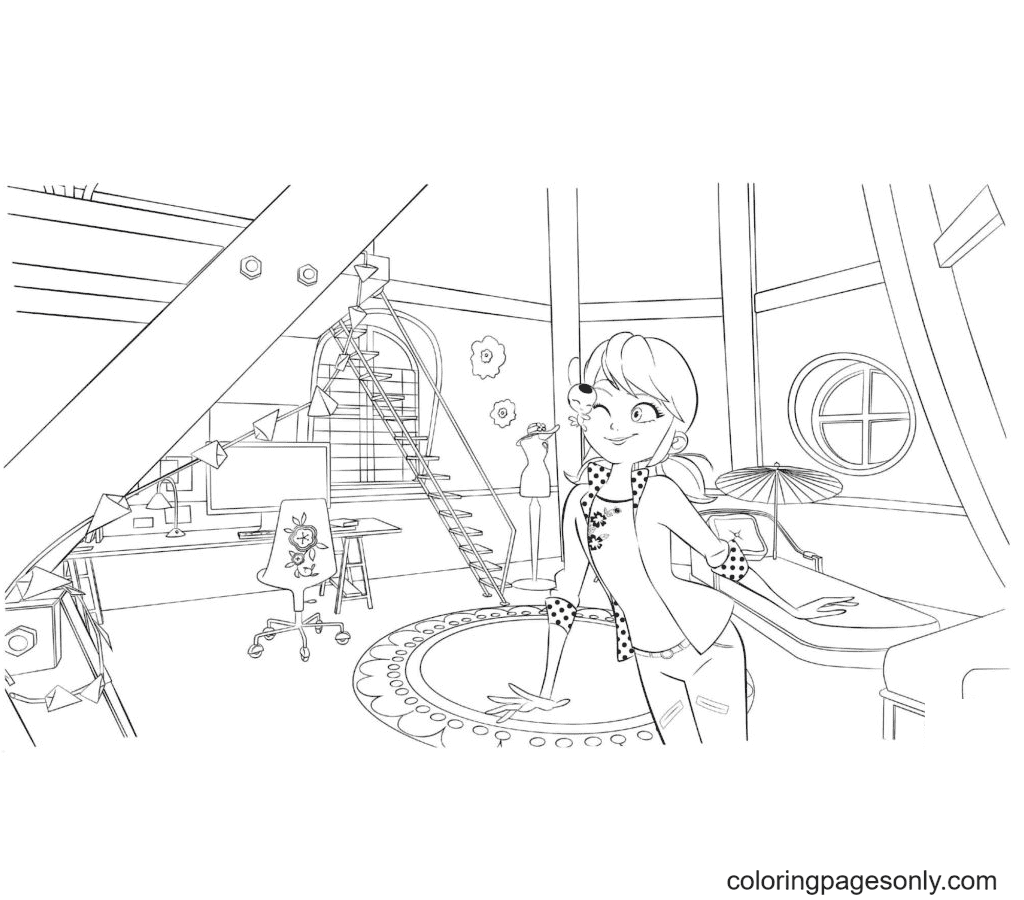 Marinette in Her Room Coloring Page
