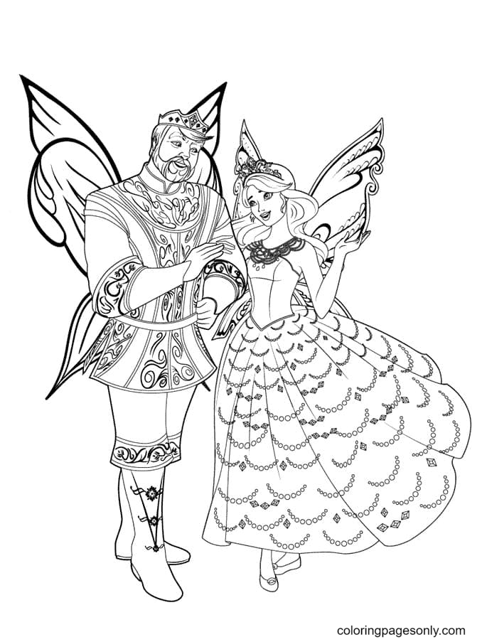 Mariposa and her dad Coloring Page