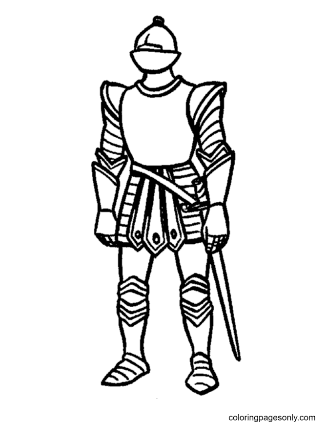 Medieval Knight Free Coloring Page