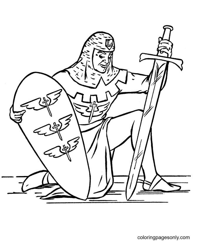 Medieval Knight with Sword and Shield Coloring Page