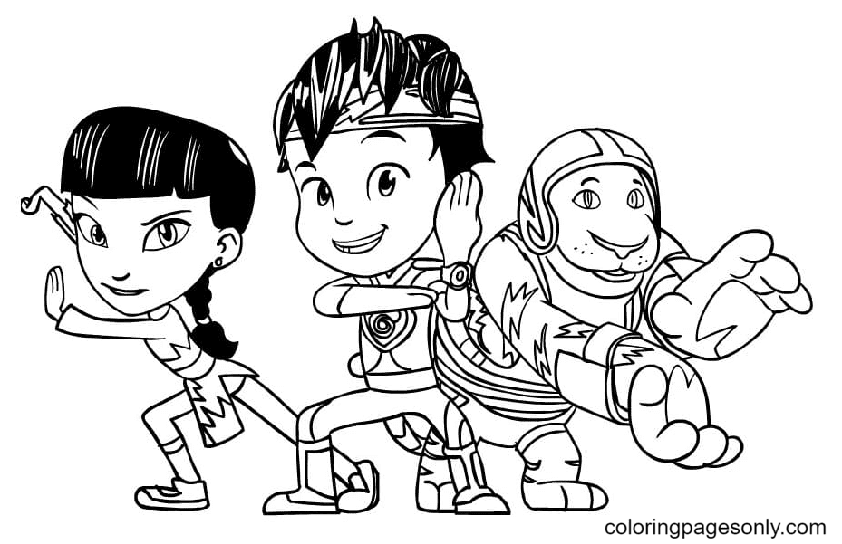 Mei and Kody with Goji Coloring Page