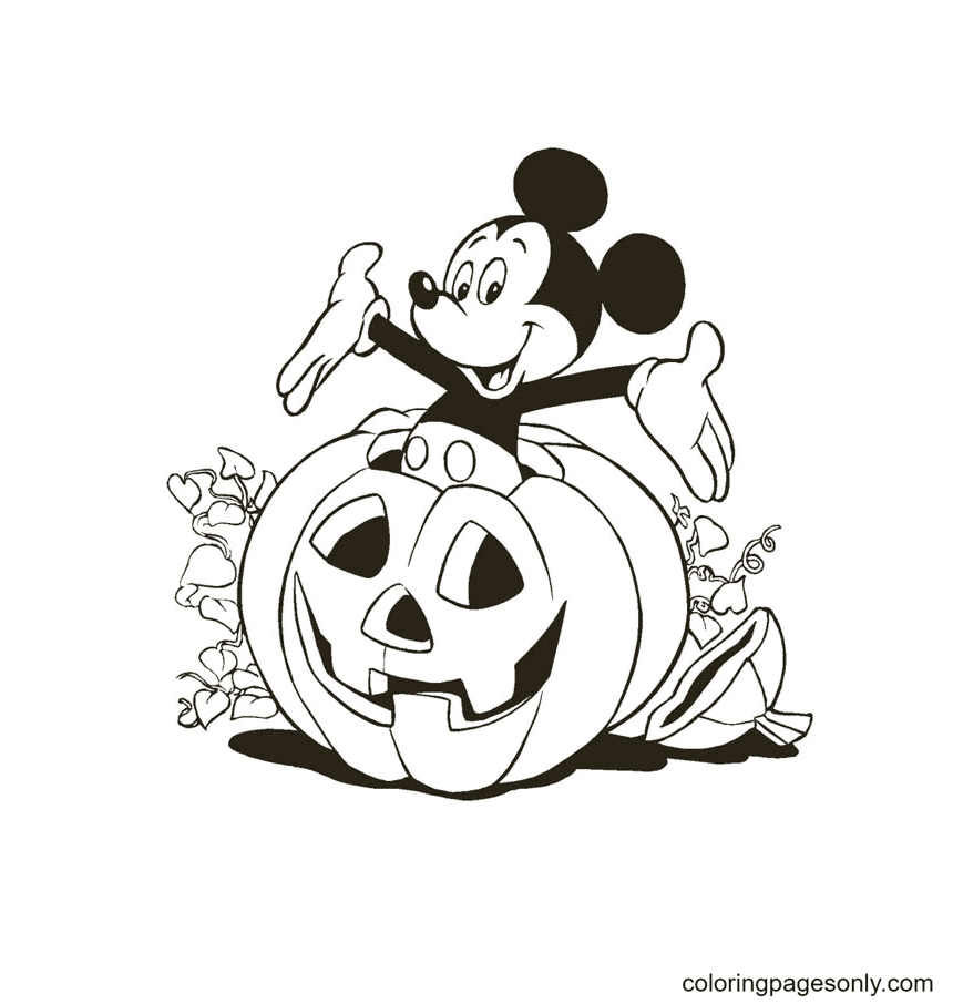 Mickey Mouse Inside Halloween Pumpkin Coloring Page