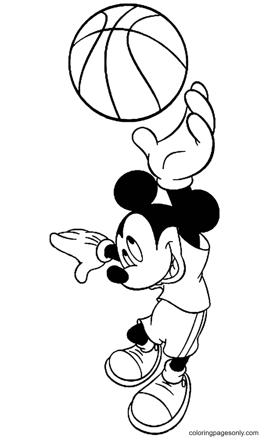Mickey Playing Basketball Coloring Page