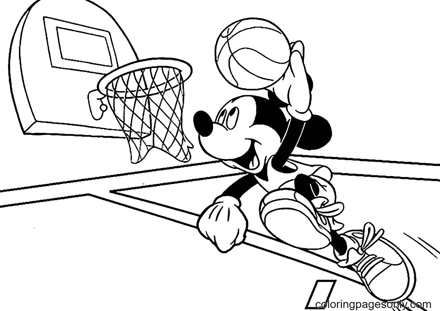 Mickey Throws The Ball Into The Net Coloring Page