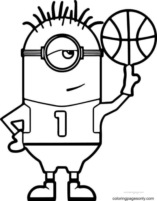 Minion Basketball Coloring Page