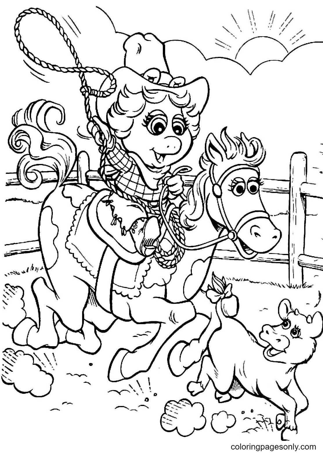 Miss Piggy cowgirl Coloring Page