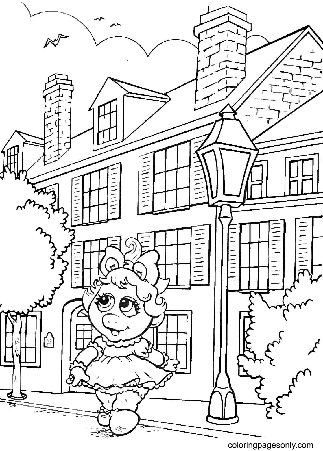 Miss Piggy is Walking in The City Coloring Page