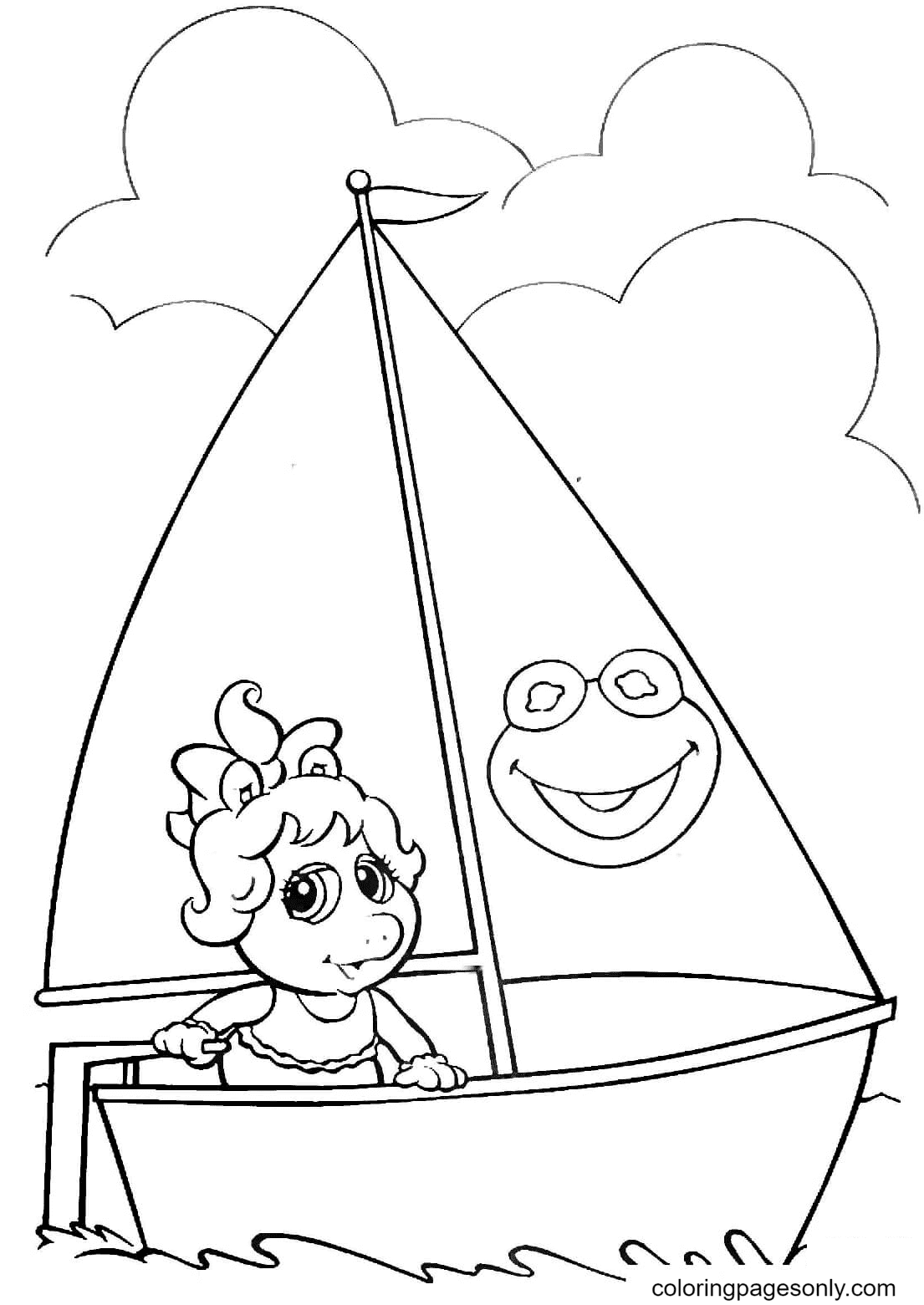 Miss Piggy on a Boat Coloring Page