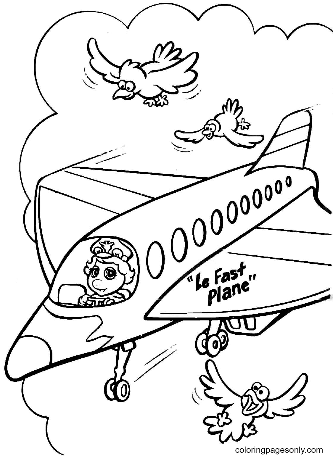 Miss Piggy pilots Concorde airliner Coloring Page