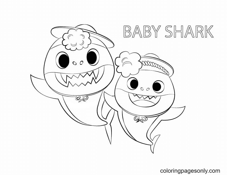 Mommy Shark and Baby Shark Coloring Page