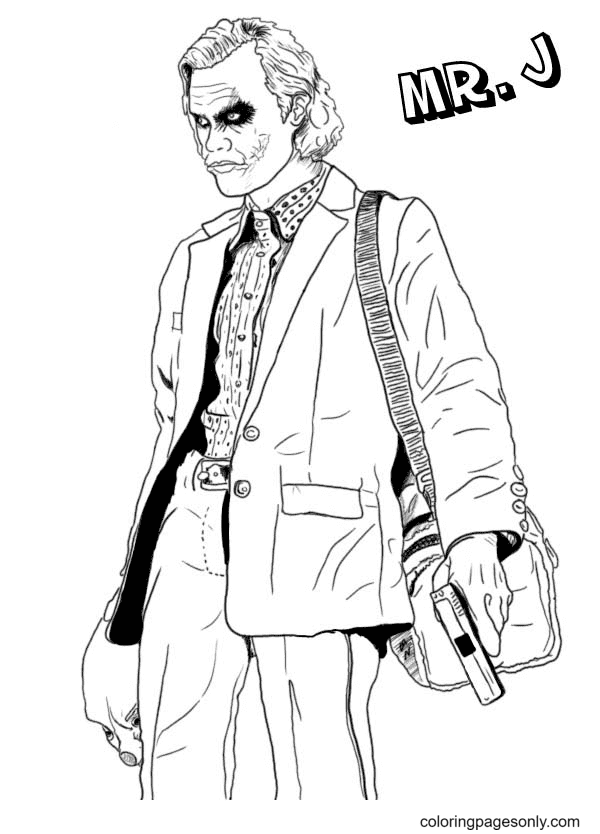 Mr.Joker Holds a Gun and Goes Coloring Page