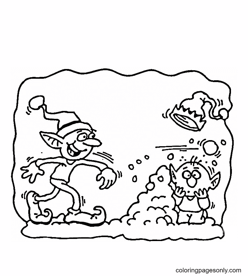 Naughty Elves Coloring Page