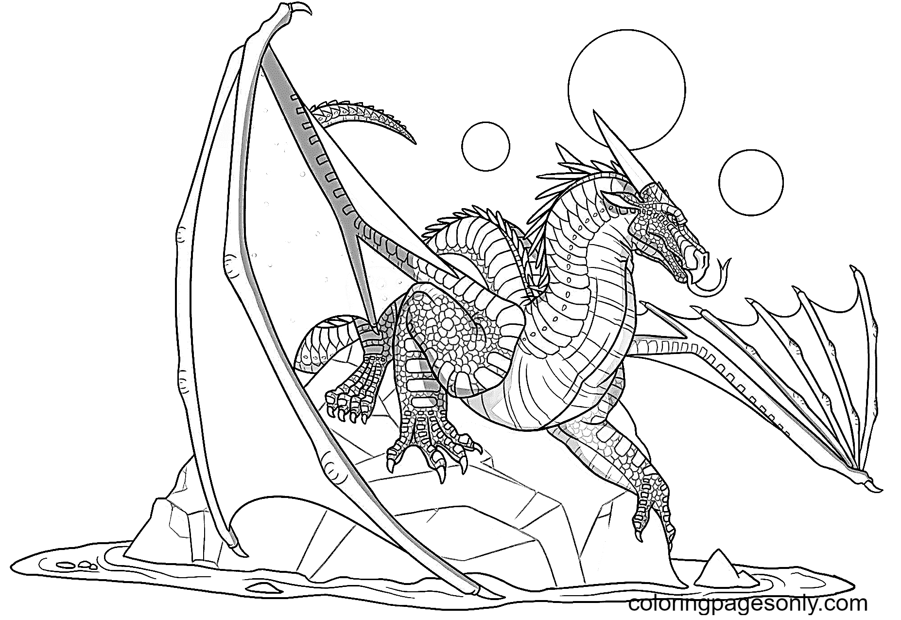 Nightwing Dragon on the rock Coloring Page