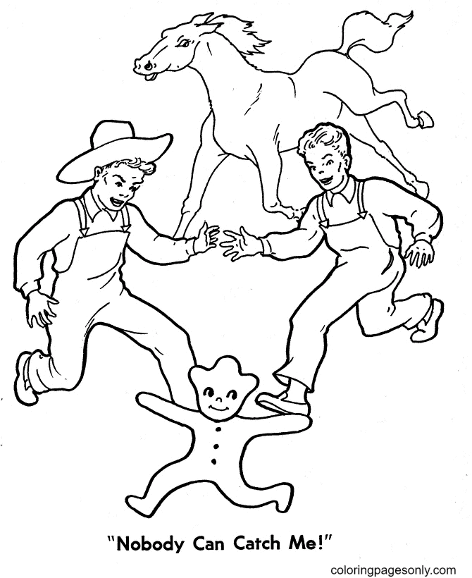 Nobody Can Catch Gingerbread Man Coloring Page