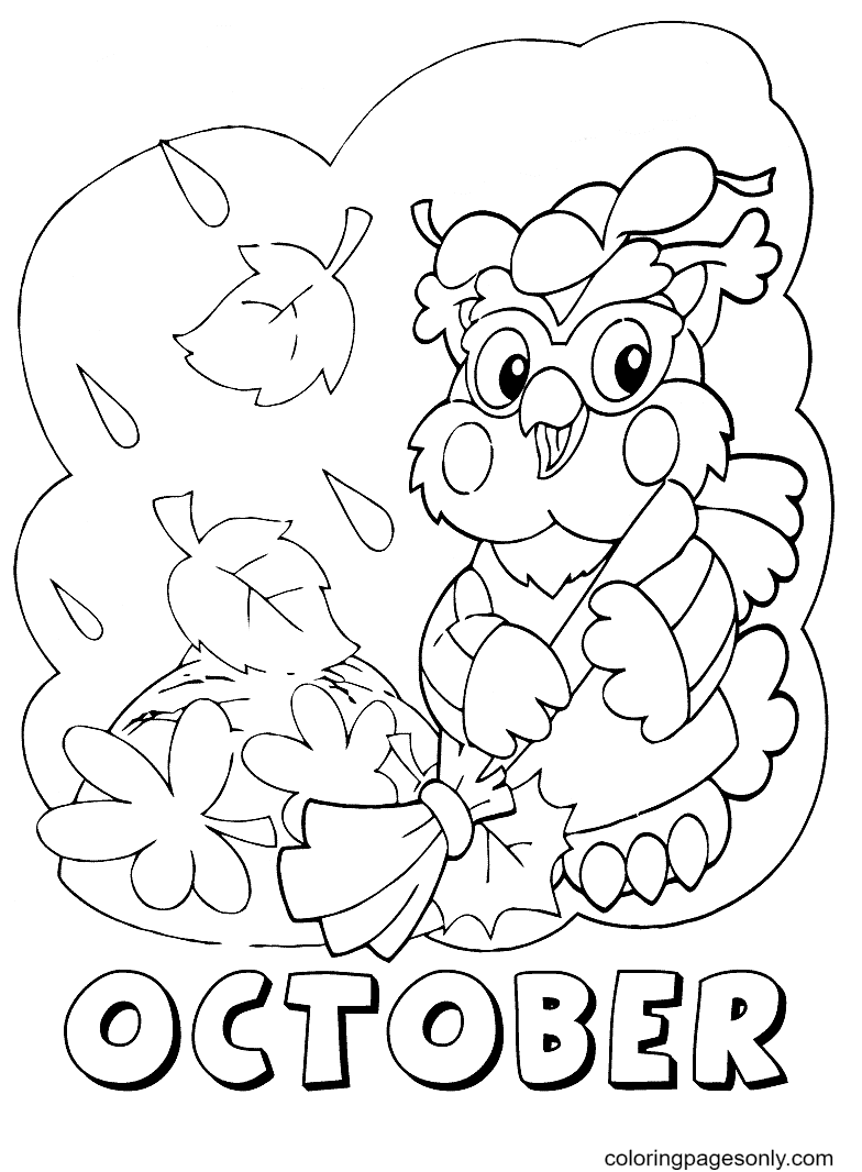 October Autumn Coloring Page