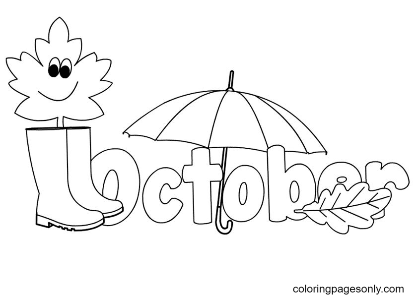 October Fall Coloring Page