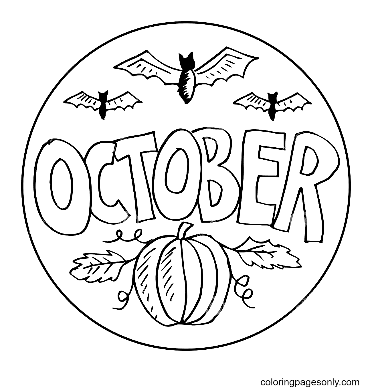October Halloween Coloring Page