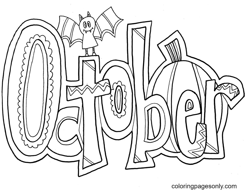 October Month Coloring Page