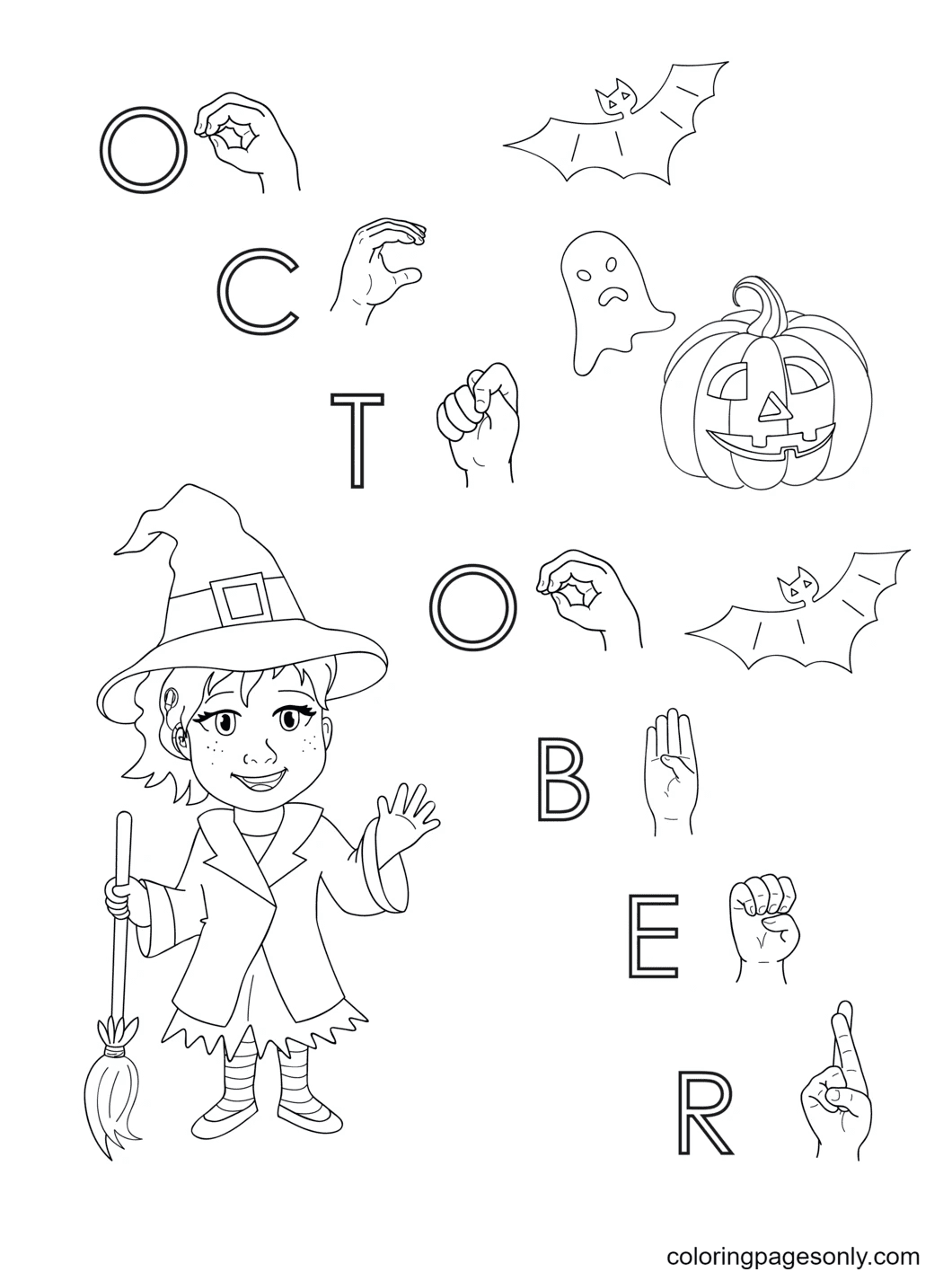 October Printable Coloring Page