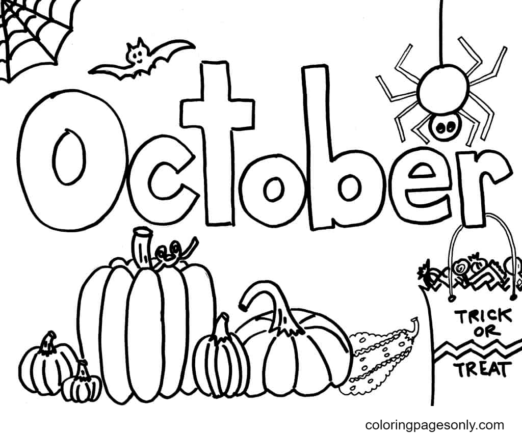 October Trick or Treat Coloring Page