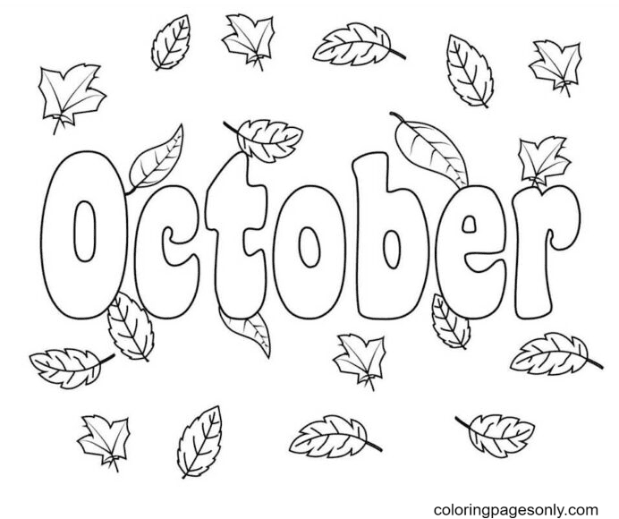 October with Autumn Leaves Coloring Page