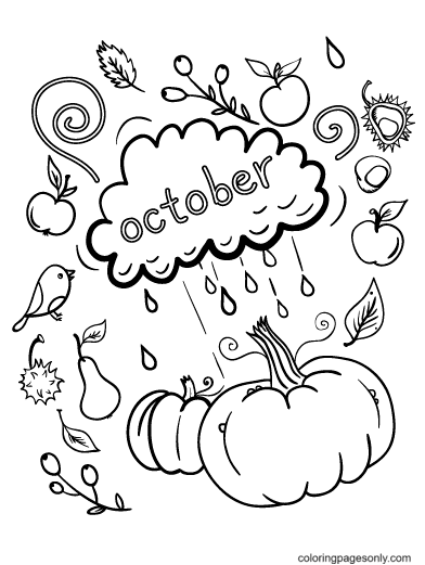 October with Clouds and Pumpkins Coloring Page