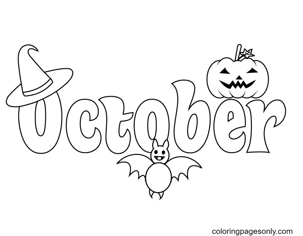 October with Hat, Bat and Pumpkin Coloring Page