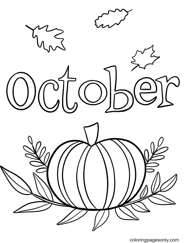 October with Leaves and Pumpkins Coloring Page