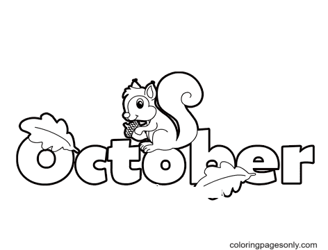 October with a Squirrel Coloring Page