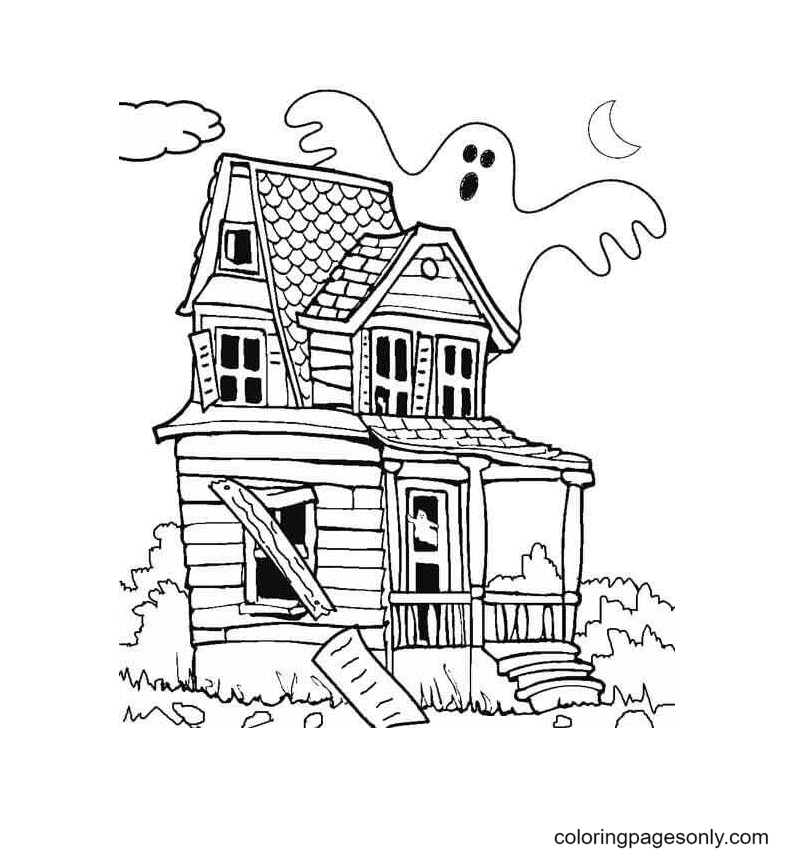 Old Haunted House Coloring Page