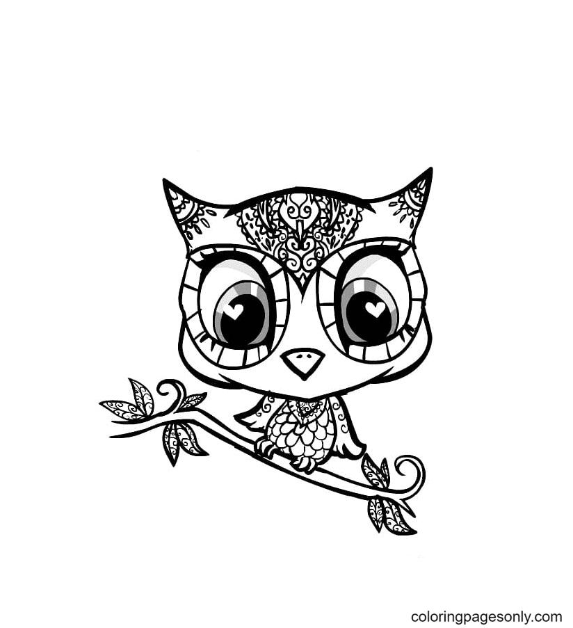 Owl Kawaii Coloring Page