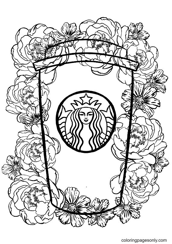 Peony Floral Starbucks Cup Coloring Page