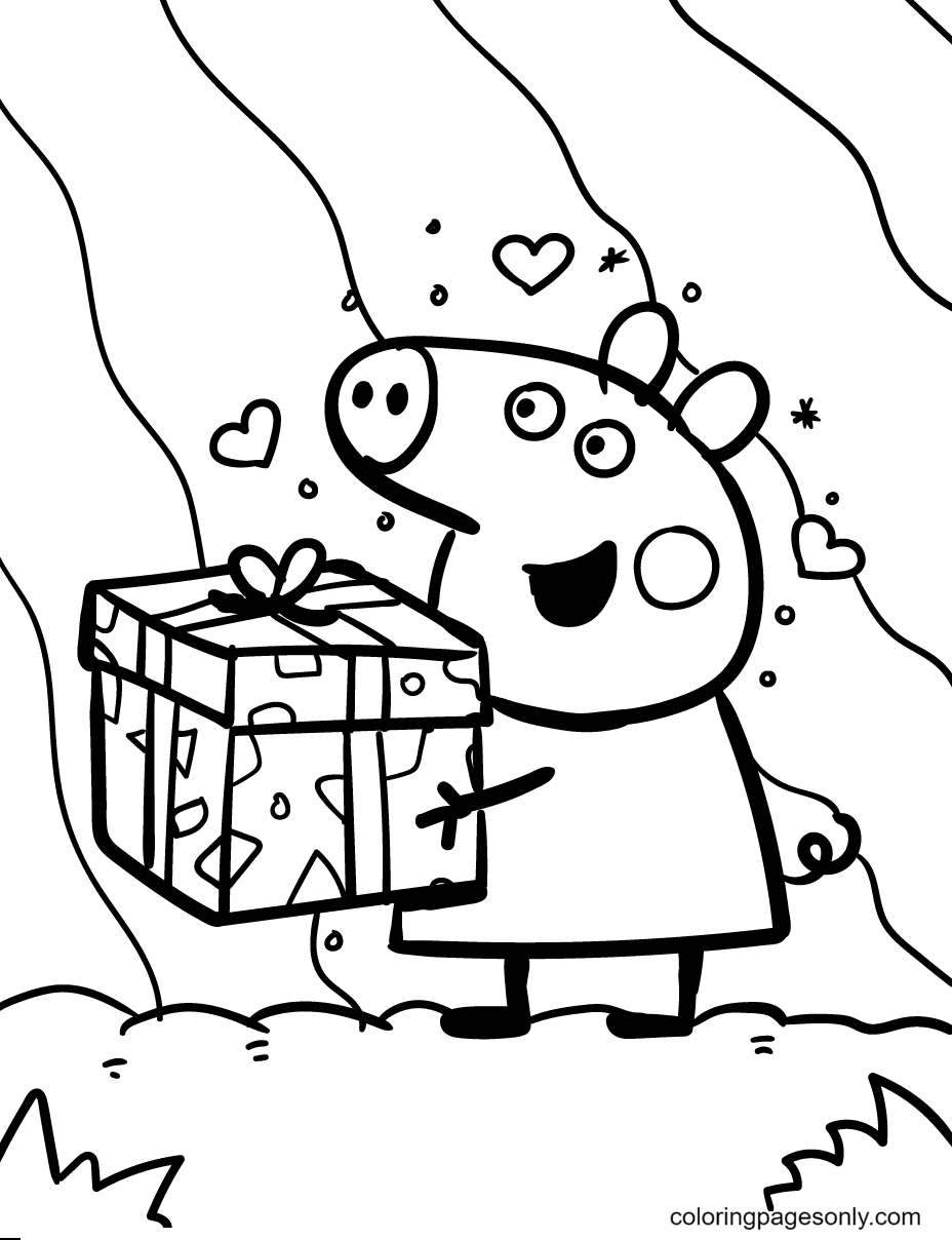 Peppa Hugs a Big Gift Coloring Page