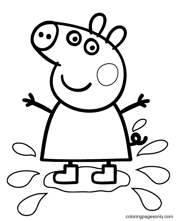 Peppa Jumping in Puddles Coloring Page